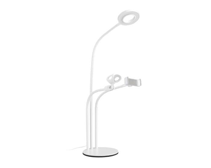 XO L02 Phone Stand Holder with LED Lamp and Microphone Holder Βάση Στήριξης - White