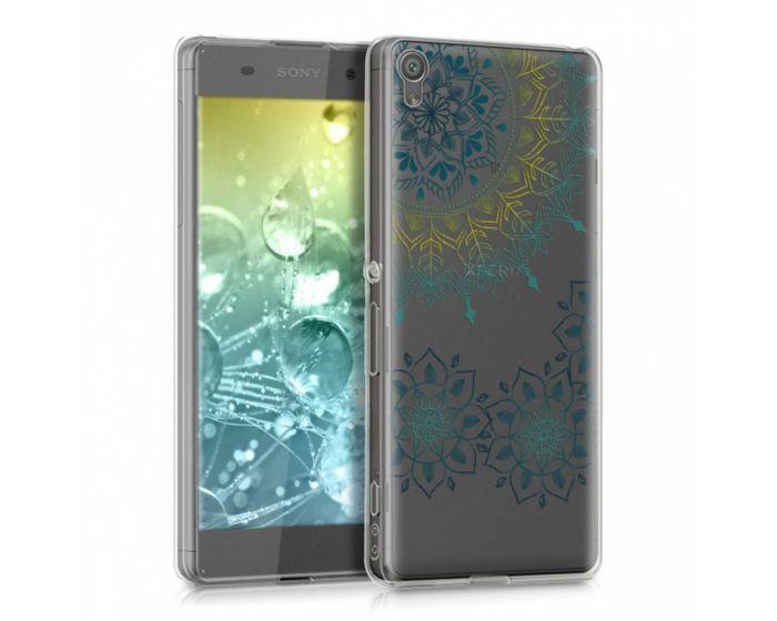 KWmobile Slim Fit Gel Case Flower Ring (39927.07) Θήκη Σιλικόνης Διάφανη / Γαλάζια (Sony Xperia XA)